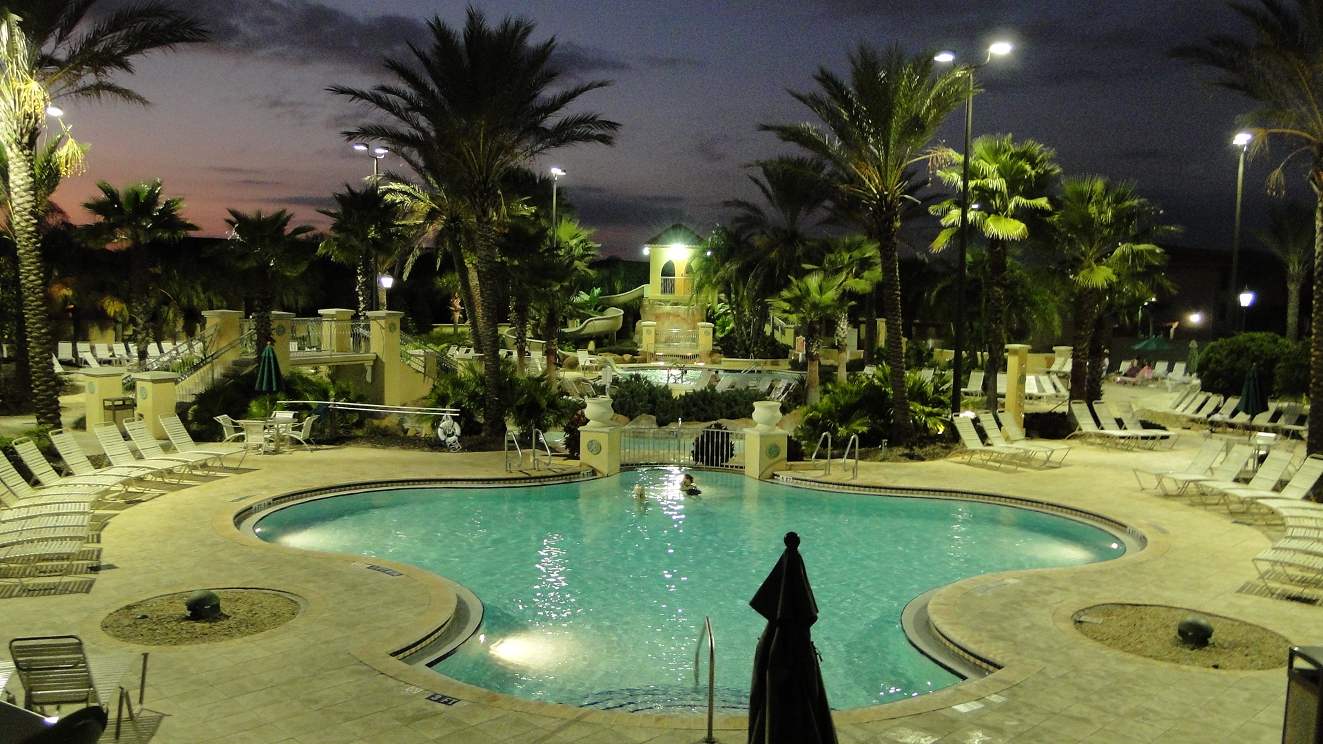Regal Palms Resort Swimming Pavillion Nightime